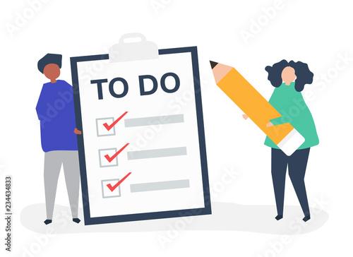 Fényképezés People making a to-do list illustration