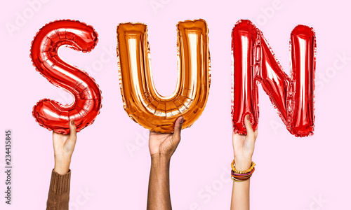 Hands showing sun balloons word