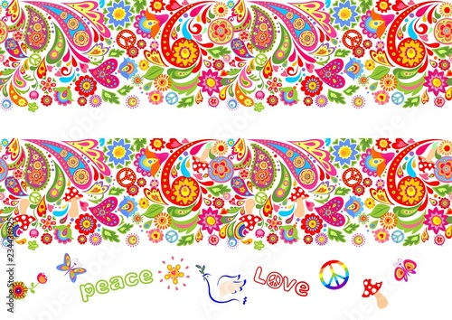 Photo Vivid floral colorful seamless borders with hippie symbol, flower-power, fly aga