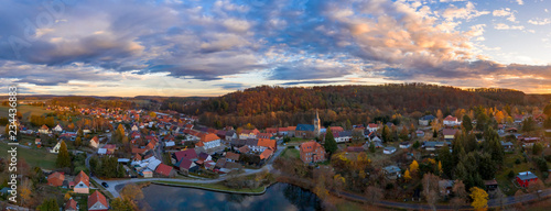 In de dag Centraal Europa Luftbildaufnahme von Güntersberge im Harz