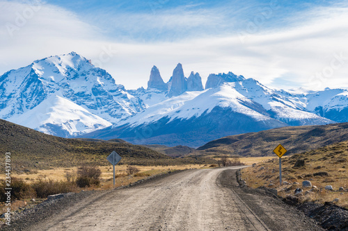 Dirt road in Torres del Paine, Chile Fototapet