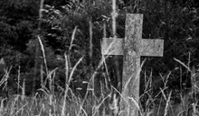 Single Stone Cross In The Forest