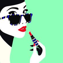 Beautiful Woman Applying Lipstick. High Fashion, Vogue Style. Modern Minimal Style Vector Illustration