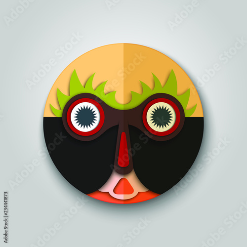 Surprised man icon, african mask design  Tribal character  Realistic