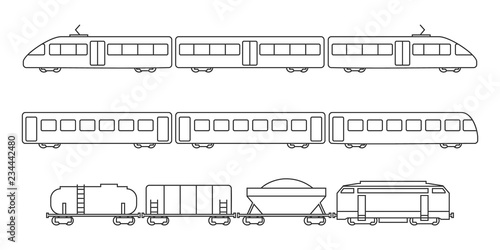 Vector collection of rail transport silhouettes. Passenger and freight transport set of wagons and locomotives.