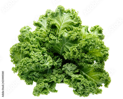 Valokuva  Fresh green organic kale leaves isolated on white.