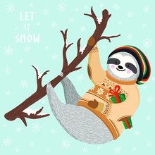 Hipster Funny Sloth Hanging On The Tree And Holding Gift Box. Cute Baby Sloth Dressed Up In Winter Style. Hand Drawn Christmas Animal Illustration. Let It Snow Print Design. Vector Winter Forest