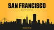 San Francisco California city silhouette and yellow background