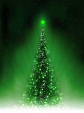 Christmas Dark Green Card With Shiny Christmas Tree,