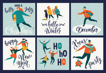 Collection Of Cute Merry Christmas And Happy New Year Greeting Cards. Set Of Hand Drawn Holiday Posters Templates, Postcard Design. Vector Illustration.