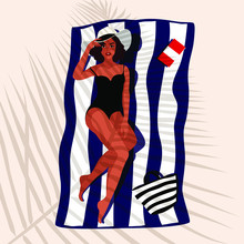 Beautiful Woman In Hat Lying On The Beach Towel. Young Attractive Girl  In Elegant Black Swimsuit Relaxing On Tropical Beach And Leaf Shadow Cover Her. Tanned Lady, Vogue Style. Vector Illustration