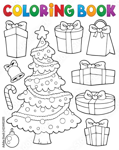 Recess Fitting For Kids Coloring book Christmas tree and gifts 1