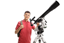 Male Student With A Telescope
