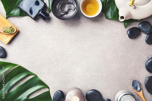 Keuken foto achterwand Spa Spa accessories on grey background