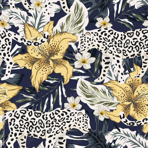 obraz PCV Tropical leopard animal, lily flowers, palm leaves, black background. Vector seamless pattern. Graphic illustration. Exotic jungle plants. Summer beach floral design. Paradise nature