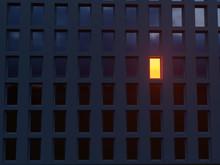 Lonely Luminous Window In A Da...