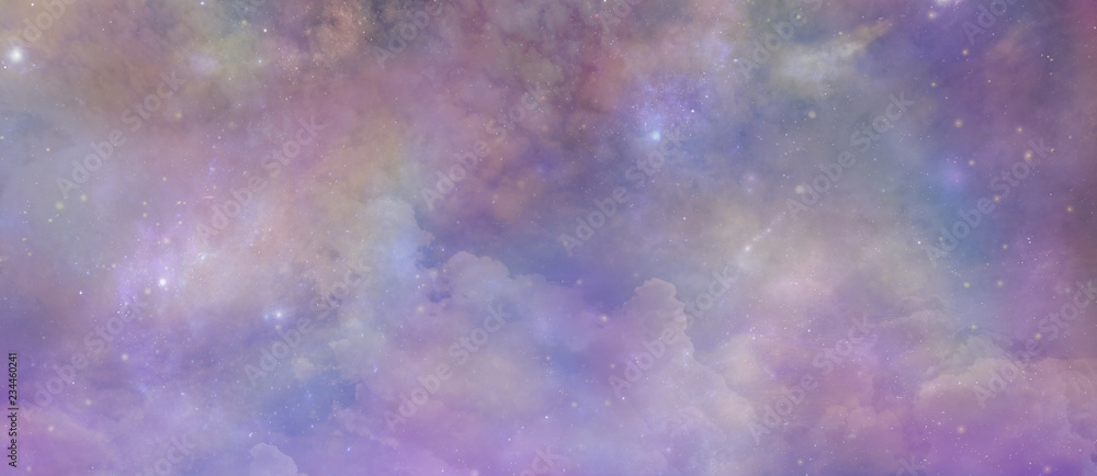 Fototapety, obrazy: Angelic Ethereal Starry Night Sky Background -  Pink and purple coloured deep space banner background  with many different stars, planets and cloud formations