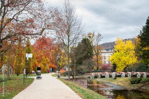 Keuken foto achterwand Begraafplaats Gelben Baum im Herbst