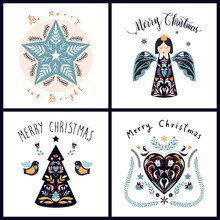 Christmas Greeting Cards Collection With Scandinavian Design Elements And Hand Lettering