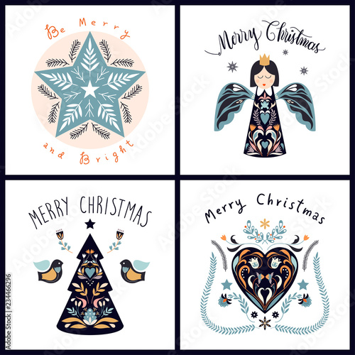Obraz na plátně  Christmas greeting cards collection with scandinavian design elements and hand l