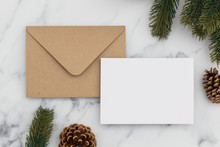 Blank White Christmas Card Composition. Fir Branch, Festive Seasonal Decorations, Lay Flat Background Template