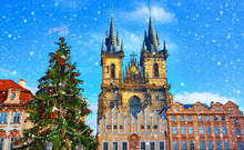 Christmas In Prague, Czech Republic. Green Tree At Central
