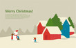 Vector Illustration_Christmas landscape. Family makes a snowman before Christmas.