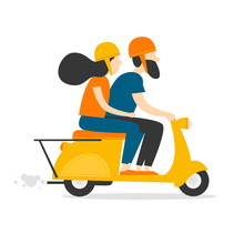 Man And Woman Riding A Moped. Flat Style Vector Illustration.