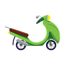 Bright Green Scooter On A White Isolated Background.