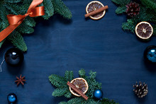 Christmas, New Year Dark Blue Frame. Winter Holiday Concept Flat Lay. Top View. Copy Space