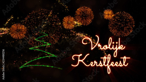 Merry Christmas In Dutch.Merry Christmas Text In Dutch Vrolijk Kerstfeest Over Pine