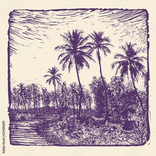 Spoed Foto op Canvas Aubergine tropical landscape with palms trees. linocut style. vector illustration.