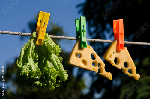 Clothespins, food and sky