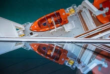 Cruise Ship Side With Lifeboats And Balcony.