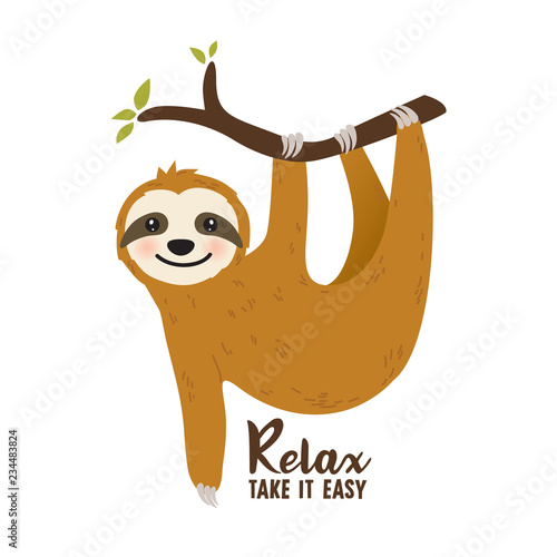 Cute cartoon sloth vector graphic design Canvas Print
