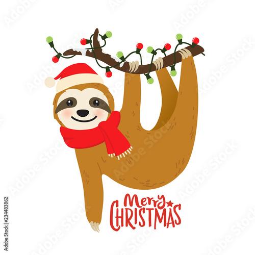 Christmas Sloth.Cute Cartoon Sloth Vector Graphic Design For Christmas