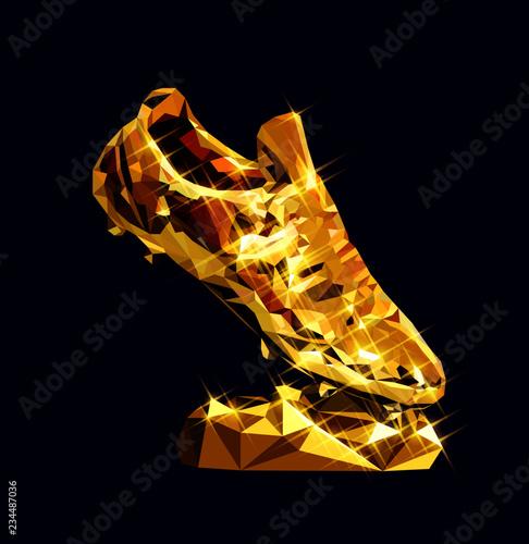 4dd1d5130 3d golden soccer shoe boot cleat vector low poly modeling design sparkle  vector illustration football geometric