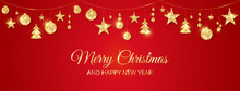 Christmas Golden Decoration On Red Background. Merry Christmas And Happy New Year Card
