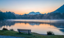 Relaxing Place On The Shore Of Hintersee Lake At Sunrise