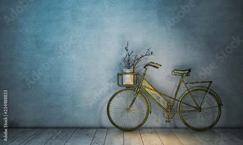 Poster Bicycle Retro Fahrrad an Wand abgestellt