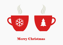 Christmas Hot Coffee, Tea Or Chocolate Beverage In Red Cups