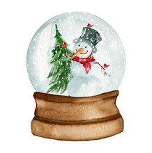 Snow Globe With Snowman And Tr...
