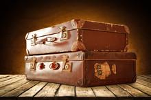 Retro Suitcase On Table