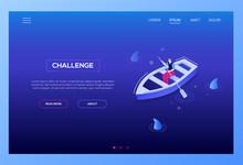 Challenge Concept - Modern Isometric Vector Web Banner