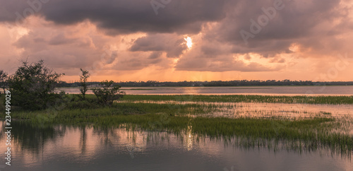 Foto  Pinckney Island, South Carolina, USA - July 23, 2018: Sunset on Pinckney Island,