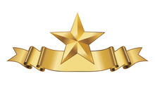 Gold Star With Ribbon Vector
