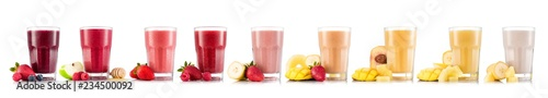 Nine tastes of smoothie in glass with fruit isolated on white background