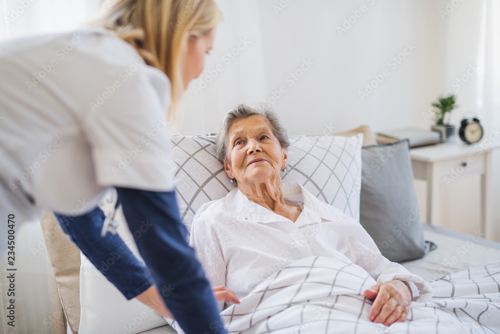 Fototapeta A health visitor talking to a sick senior woman lying in bed at home.