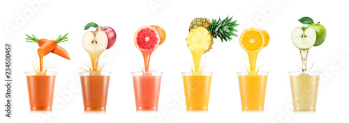 Six tastes of juice pouring in plastic cup from fruit isolated on white background