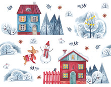 Watercolor Pattern On A White Background. Village Houses With Winter Trees, Snowman, Hare And Deer.